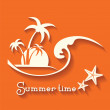 Summer time image with sea wave and tropical palm trees — Stock Vector #70465445