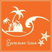Summer time graphic image with sea wave and tropical palm trees — Vetor de Stock
