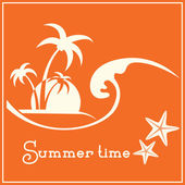 Summer time graphic image with sea wave and tropical palm trees — Vector de stock