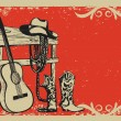 Vintage poster with cowboy clothes and music guitar — Stock Vector #72321441