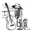Vintage poster with cowboy clothes and music guitar — Stock Vector #72321443