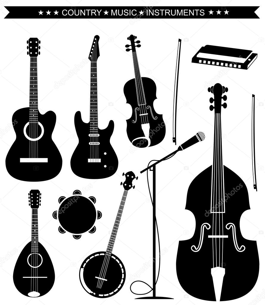vector country music instruments isolated on white stock Electric Guitar Clip Art Electric Guitar Clip Art