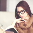Woman reading book — Stock Photo #63824315