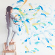 Child painting wall — Stock Photo #68771585