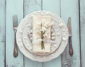 Wielkanocny stół ustawienie — Zdjęcie stockowe