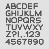 Strict alphabet rounded. Isolated on white. Bold — Stockvector