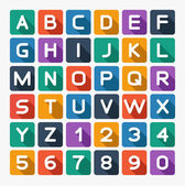 Flat alphabet rounded. Isolated on white — Stock Vector