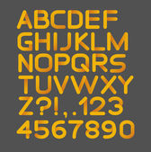 Paper yellow strict alphabet rounded. Isolated on black. Bold — Stockvector