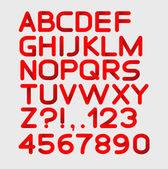 Paper red strict alphabet rounded. Isolated on white. Bold — Stockvector