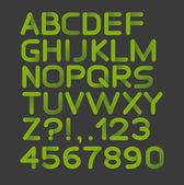 Paper green strict alphabet rounded. Isolated on black — Stock Vector
