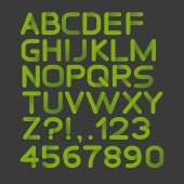Paper green strict alphabet rounded. Isolated on black — Stockvector