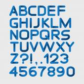 Paper blue strict alphabet rounded — Stock vektor