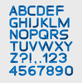 Paper blue strict alphabet rounded — Vettoriale Stock