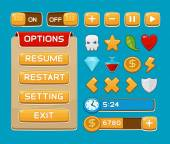 Interface buttons set for games or apps — 图库矢量图片