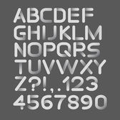 Paper white strict alphabet rounded. Isolated on black — Vector de stock