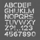Paper white strict alphabet rounded. Isolated on black — Stock vektor