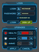 Interface buttons set for space games or apps — Stockvector