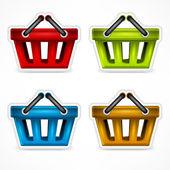 Shopping colour baskets — Stock Vector