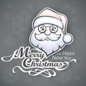 Cheerful Santa face on grey — Stock Vector