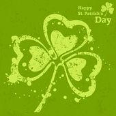 Three leaf clover grunge on green — Stock Vector