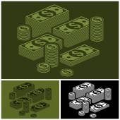 Piles of money set — Stock Vector