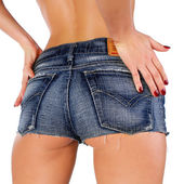 Woman in jeans shorts — Stock Photo