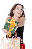 Woman with a gift — Stock Photo
