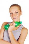 Mulher com garrafa de água — Fotografia Stock