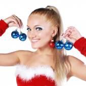 Blond girl in christmas costume — Stock Photo