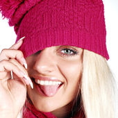 Emotional model in pink hat — Stock Photo
