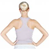Back view of girl engaged in fitness — Stock Photo
