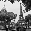 Eiffel Tower and vintage carousel in Paris, France. Retro style — Stock Photo #52403515