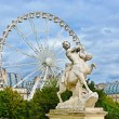 Marble statue and ferriw whell in Tuileries Garden (Jardin des Tuileries). Is public garden located between Louvre Museum and Place de la Concorde in Paris, France — Stock Photo #53639185