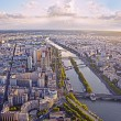 Aerial view of Paris and Seine river from Eiffel tower at sunset — Stock Photo #53646761