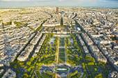Aerial panoramic view of Paris and Champ de Mars from Eiffel Tower in Paris, France. — Stock Photo