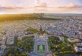 Aerial view of Paris with Trocadero from Eiffel Tower at sunset, Paris, France — Stock Photo