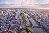 Aerial view of Paris and Seine river from Eiffel tower at sunset — Photo