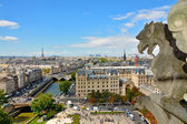 Notre Dame de Paris Cathedral. Famous Chimera (demon) overlooking the Eiffel Tower. Paris, France — Stock Photo