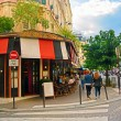 View of typical paris cafe in the artists' quarter of Montmartre on August 16, 2014, Paris, France — 图库照片 #56205163
