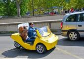 Tourists on a rented car photographed attractions on August 22,2014 in Paris, France. Cars with navigation system and audio guide, have already attracted many tourists — Stock Photo