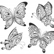 Vector set of black and white calligraphic butterflies isolated on white background. Tattoo design — Stock Vector #62903071