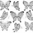 Vector set of black and white calligraphic butterflies isolated on white background. Tattoo design — Stock Vector #62903087