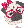 Fashion portrait of pug dog hipster in hearts glasses isolated on white. Vector hand drawn illustration — Stock Vector #62903231