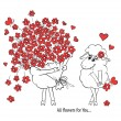 Couple in love. Two cute sheeps with big beautiful bouquet of flowers. Idea for greeting card with Happy Wedding or Valentine's Day. Cartoon doodle vector illustration — Stock Vector #62903287