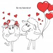 Couple in love. Cartoon Two cute enamored sheep with red hearts  — Stock Vector #62903303