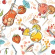 Vector seamless pattern with hand drawn cocktails and berries  — Stock Vector #62903487