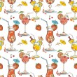 Vector seamless pattern with hand drawn cocktails and berries  — Stock Vector #62903489