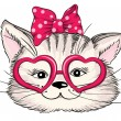 Fashion portrait of hipster cat in hearts glasses isolated on white. Vector hand drawn illustration — Stock Vector #62903493