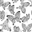 Vector seamless pattern with black and white butterflies — Stock Vector #62903507