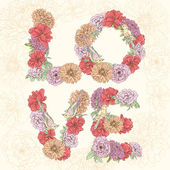 Love word made of flowers. Vector hand drawn — Stock Vector